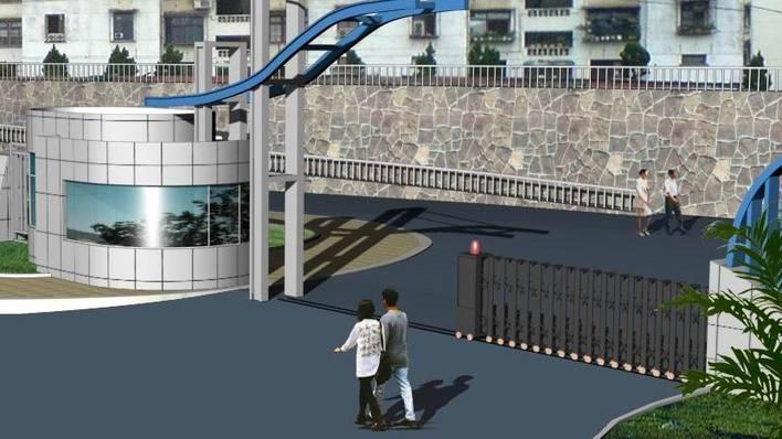 某厂区环境设计鸟瞰图及入口大门效果图 学校大门,围墙施工图全套图纸