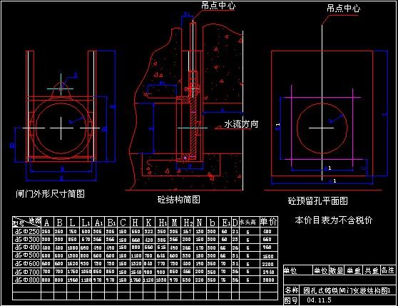 整体式孔型铸铁闸门安装结构图2