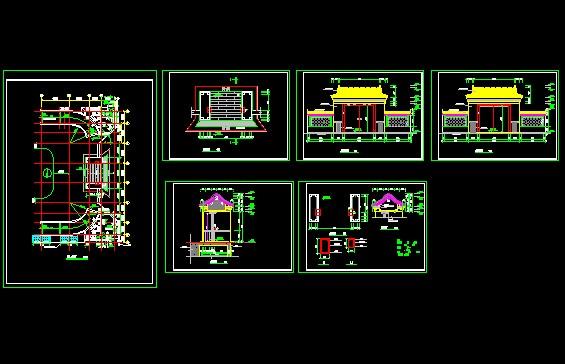 某地图纸仿古门楼显示设计施工图纸单层广联达不不画图建筑v图纸出来图片