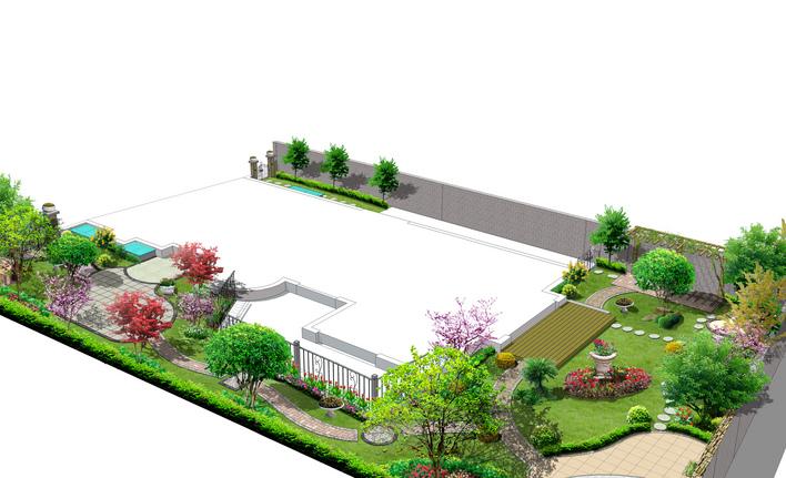 学校广场花坛平面图手绘
