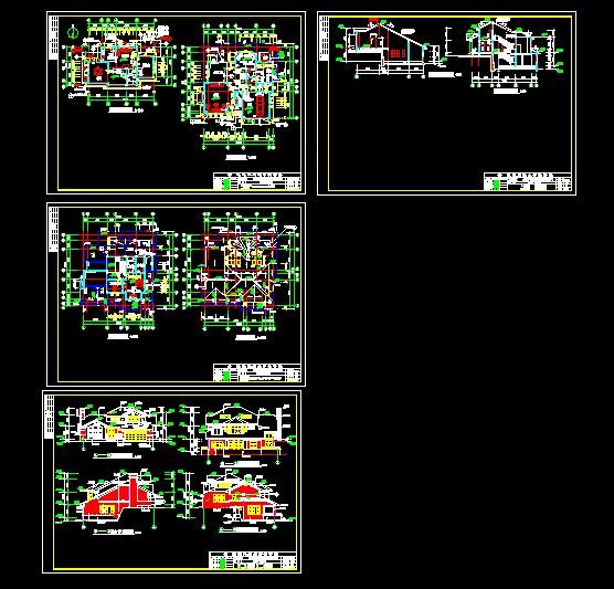 二层别墅带地下室整套建筑图