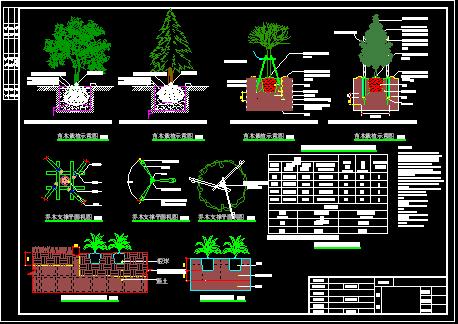 [成都]居住区园林景观植物种植设计施工图; 园林植物栽培养护