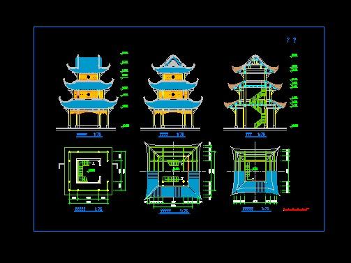 西安钟鼓楼手绘平面图