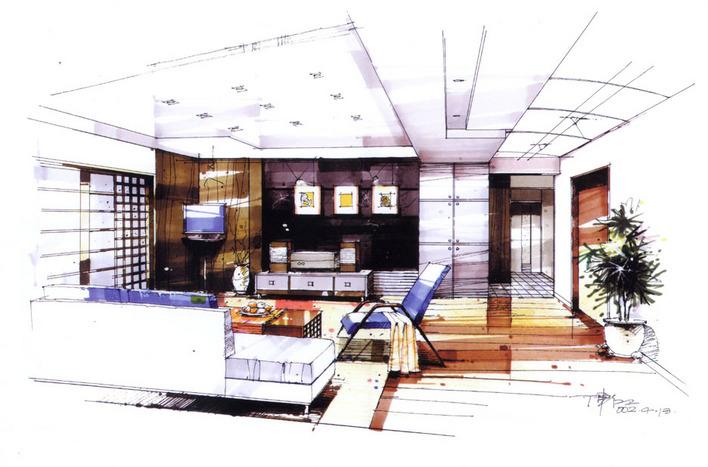商业室内手绘效果图1