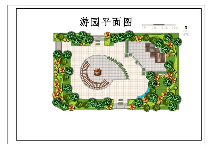 方形公园手绘平面图