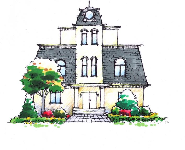 室内手绘效果图 手绘效果图 景观小品手绘效果图 小区景观设计手绘