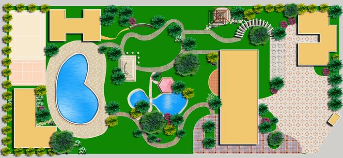 方形水池效果图手绘