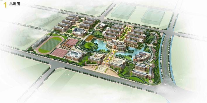 2m 某厂区环境设计鸟瞰图及入口大门效果图 办公楼宿舍招待所文体中心