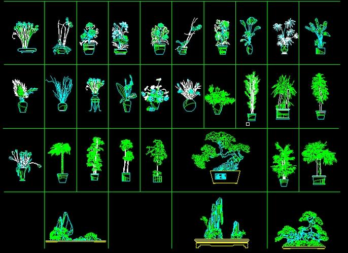 cad植物立面图免费下载 植物立面图  所属分类:平面效果图 园林景观