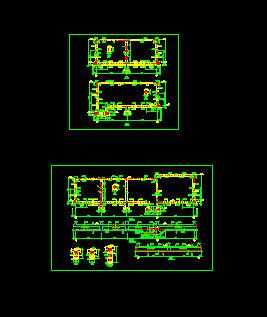 某地二层框排架厂房车间结构图及水池相关大样图 某地区三层框架结构