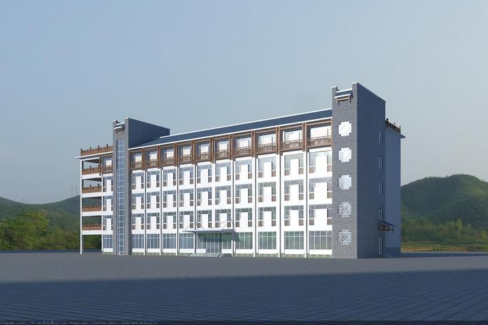 土家风格办公楼 某现代风格多层办公楼max模型 附材质 沿街商业现代