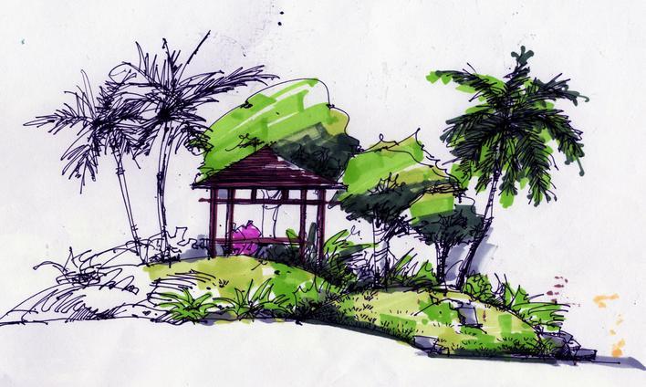 手绘景观小品景观手绘小品手绘景观剖面景观石手绘