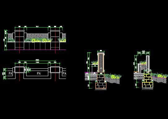 图纸 园林设计图  花坛护栏施工图             花坛护栏施工图.