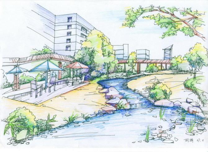 园林设计图  建筑景观彩铅手绘效果图