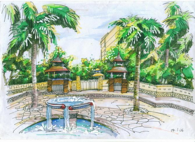 建筑景观马克笔手绘效果图