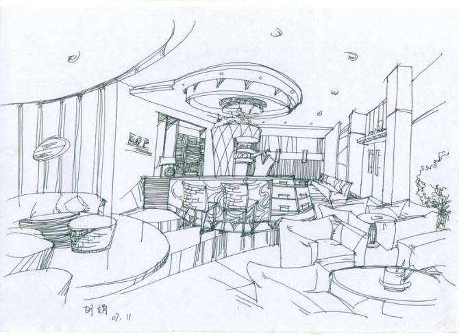 室内手绘效果图 手绘效果图 景观小品手绘效果图 校园景观小品手绘