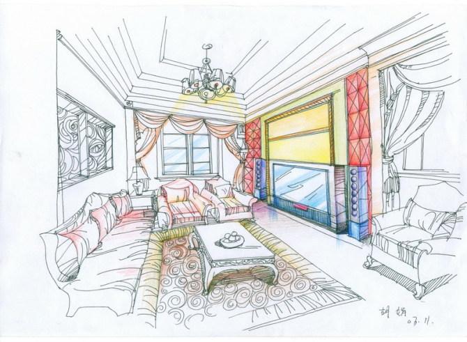 室内彩铅彩色手绘效果图