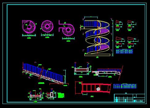 板式钢螺旋楼梯 某大厅混凝土和钢结构双螺旋楼梯节点详图 某地小区图片