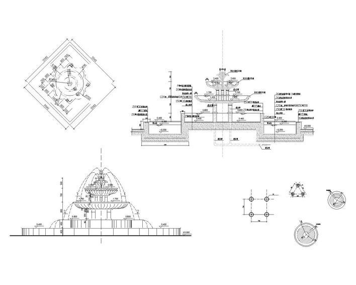 泰纳喷泉手绘平面图