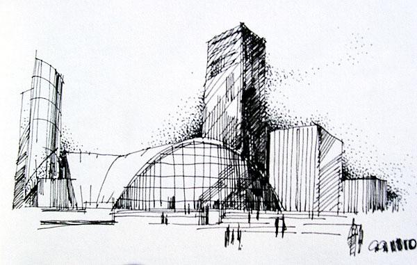 建筑钢笔画_cad图纸下载-土木在线