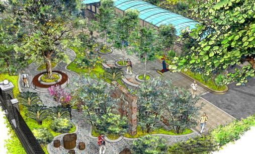 图纸 园林设计图  原创手绘风格的景观效果图   庭院小景  相关专题