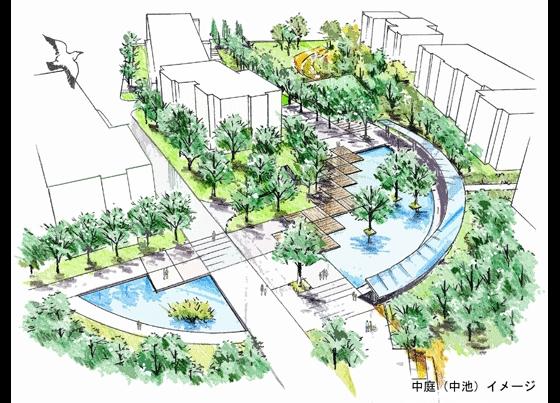 居住区景观效果手绘图纸