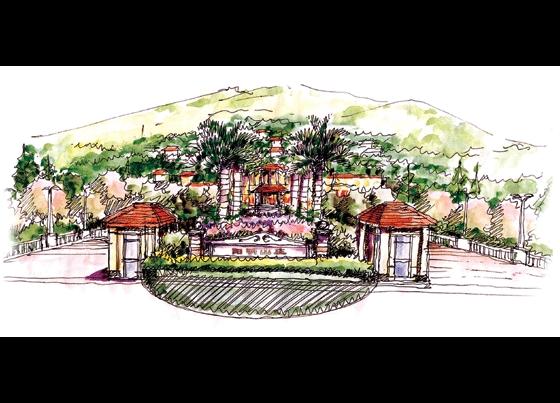 景观广场手绘效果图 小区景观设计手绘效果图 小区入口景观手绘效果图
