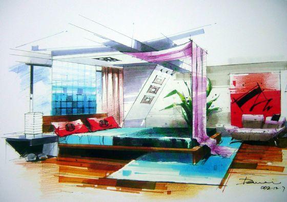马克笔总平面图 咖啡厅马克笔效果图 马克笔室内设计图 马克笔手绘