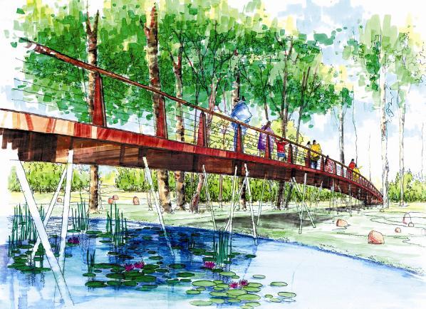 校园景观小品手绘效果图 园林景观小品手绘效果图 小区入口景观手绘