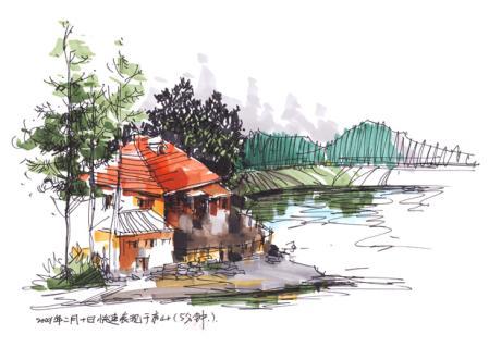手绘效果图 室内手绘效果图 公园大门手绘效果图 咖啡馆设计手绘效果