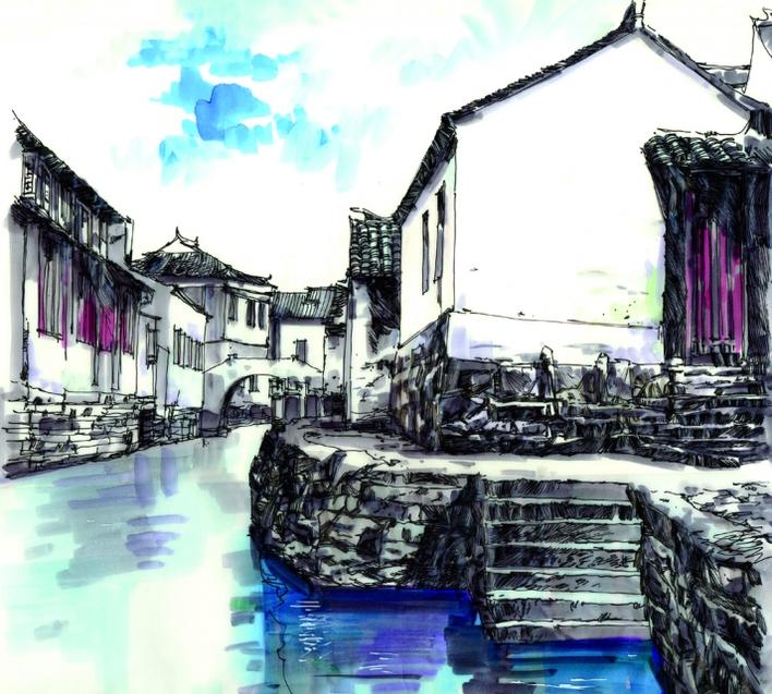 手绘表现技法,钢笔淡彩,水乡写生,现代建筑手绘表现