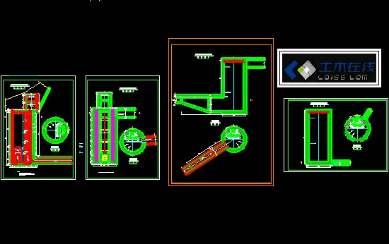 某污水厂mbr工艺空气管线平面布置图剖面图 消防泵房管道布置图平面图
