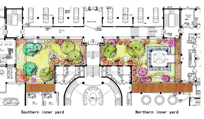 中庭平面设计手绘