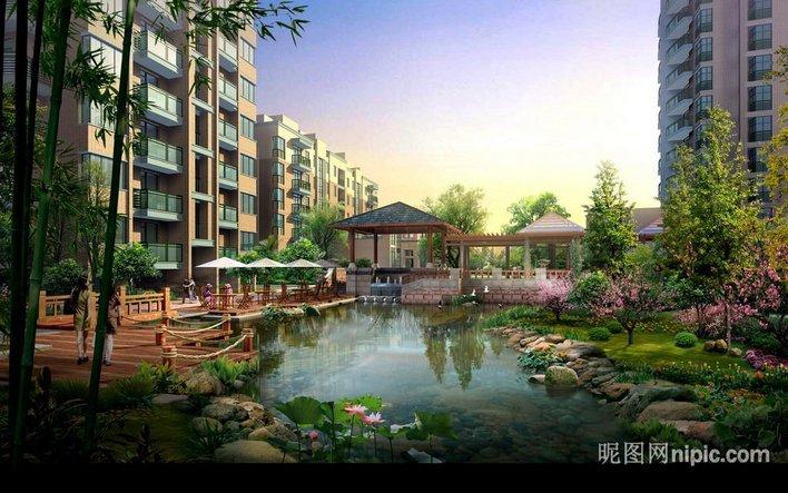 图纸 园林设计图  效果图    小区园林景观效果图,亭子,木桥,生态驳岸