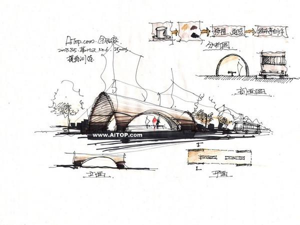 共66张 建筑方案手绘表现1 建筑方案手绘表现2 精品手绘之石拱桥(惊艳