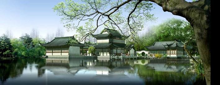 如画的中国风景观效果