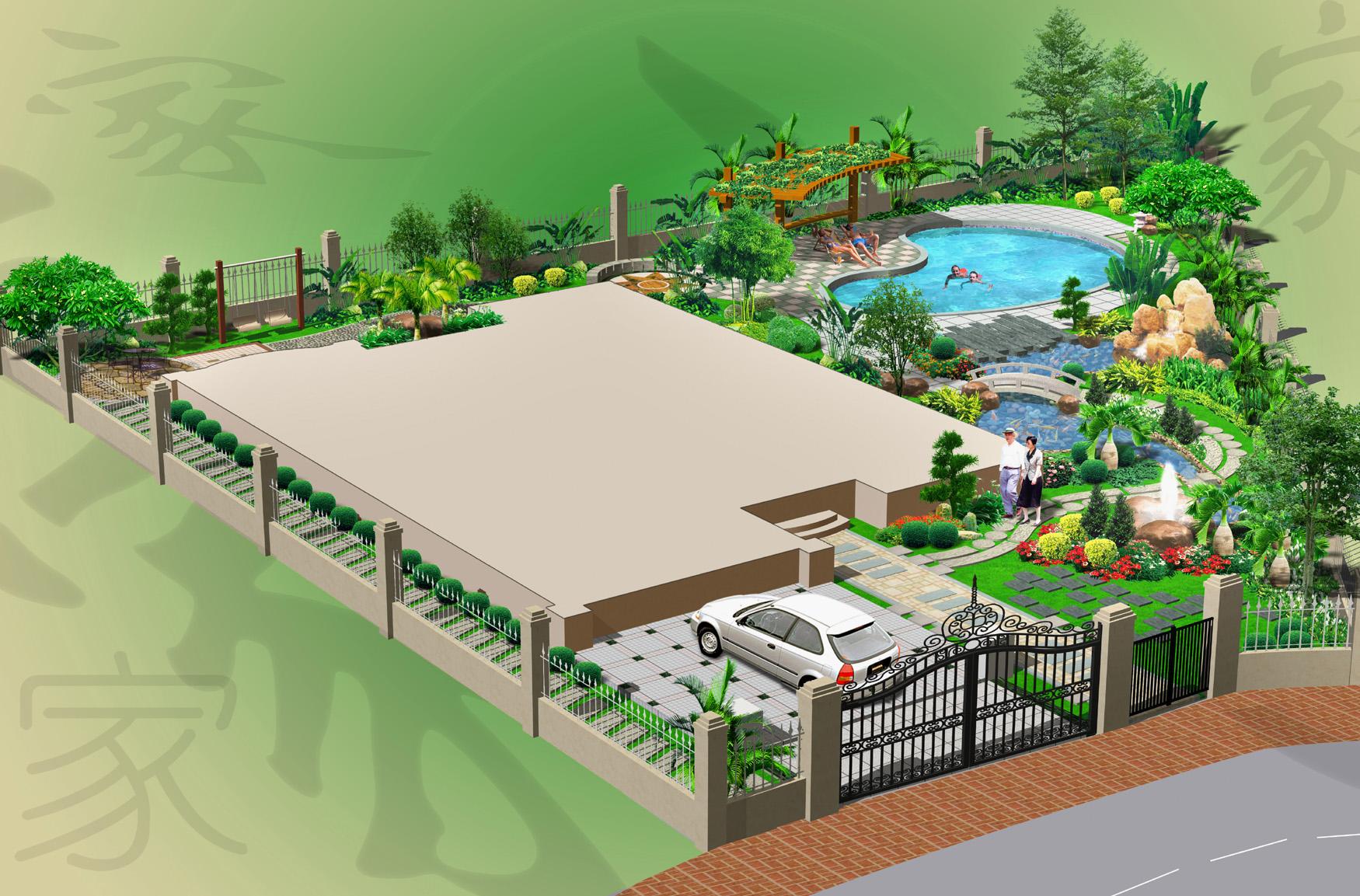 一个别墅园林效果图