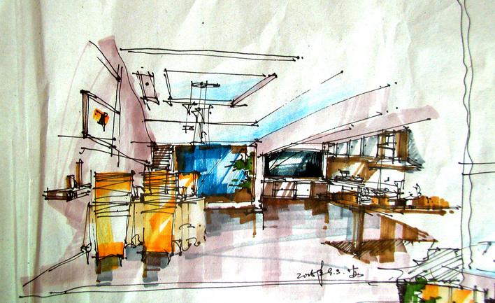 手绘室内图纸图片展示古风奶块图纸建筑设计图片