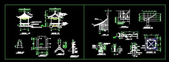 四角亭)含结构施工图 仿古四角亭结构图及节点详图