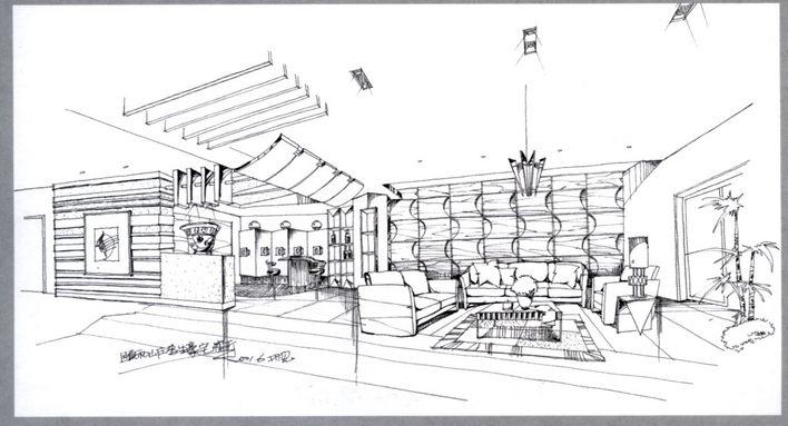 室内手绘效果图 景观小品手绘效果图 小区入口景观手绘效果图 咖啡厅