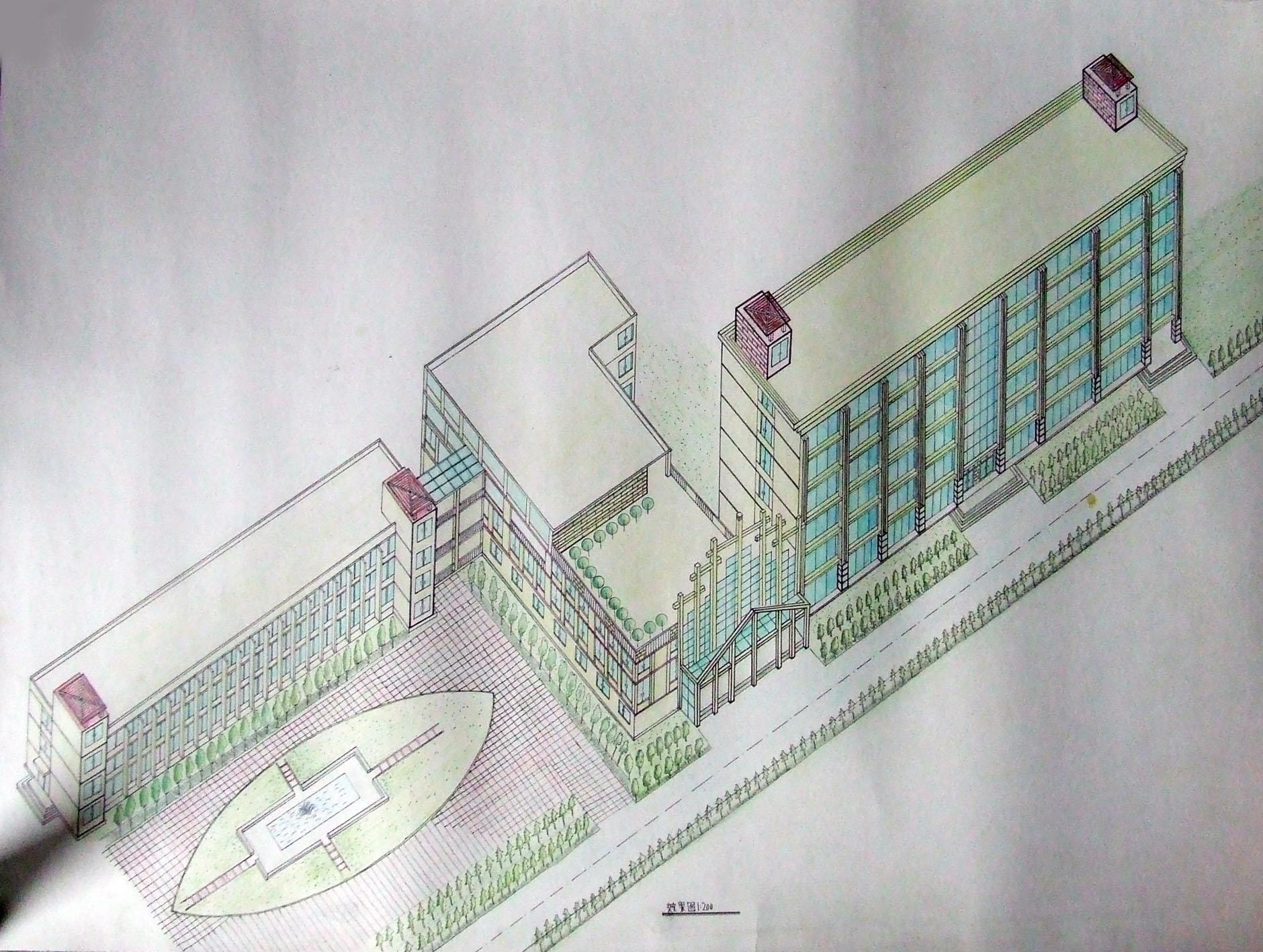 图纸 建筑图纸  艺术楼    艺术楼手绘效果图   相关专题:艺术教学楼