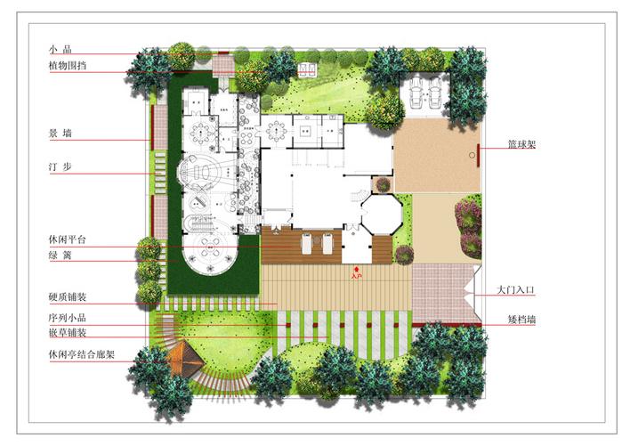 景观小庭院平面图手绘
