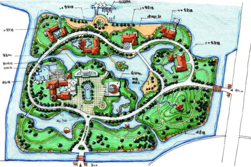 手绘小区平面图 小区景观设计手绘平面图 手绘小区景观平面图 小区
