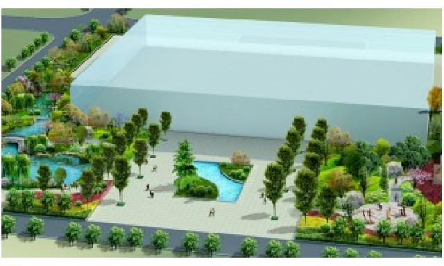 滨水景观节点效果图,很好的设计方案(造型花坛) 上海华盛国税园规划图