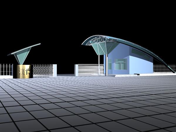 某小区入口大门设计方案cad及效果图 学校大门,围墙施工图全套图纸,加