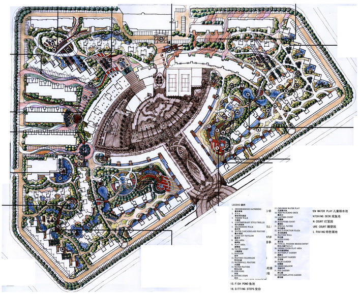 小区景观设计手绘效果图 小区景观设计手绘平面图 私家庭院景观设计手