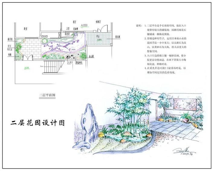 天台花园手绘平立面图