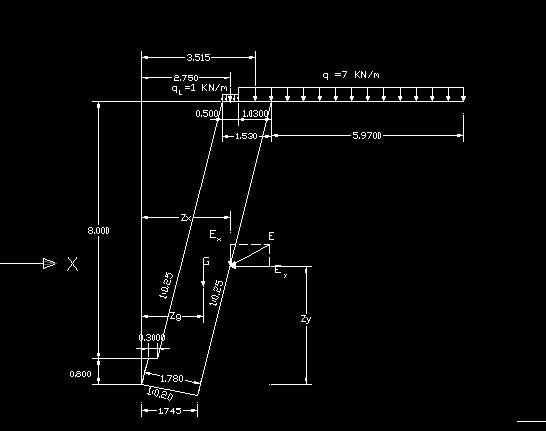 仰斜式挡土墙计算简图图片