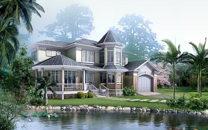 中式风格的三层别墅室内装修cad施工图(含效果图)