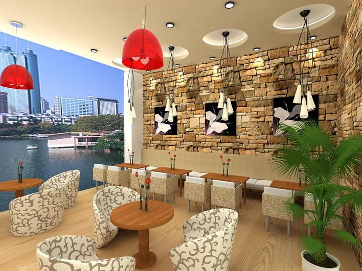咖啡厅平面 天花 地面铺装图